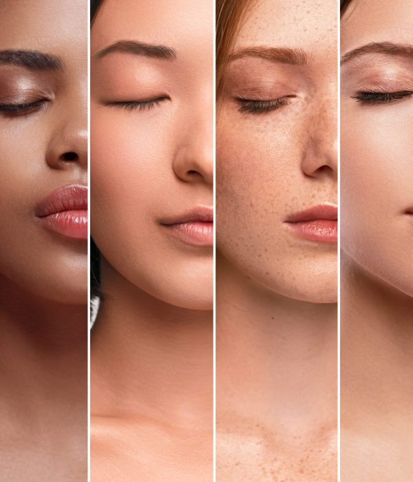 Collage of crop faces of attractive multiracial models with closed eyes and clean skin